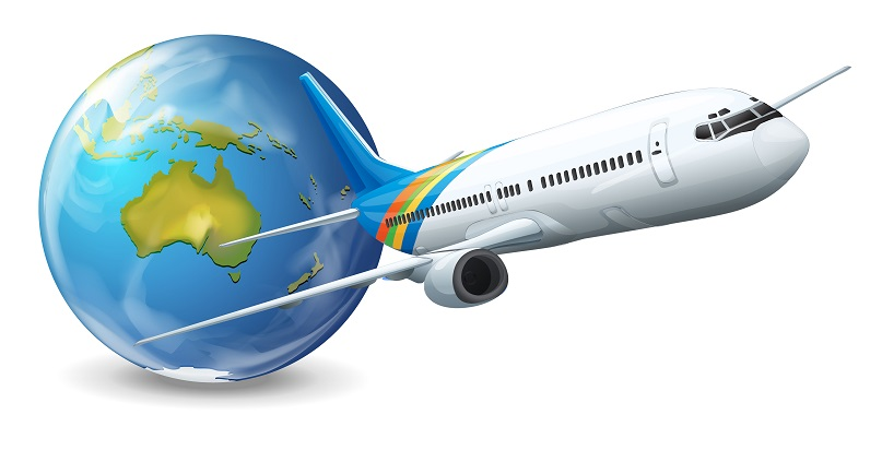 Illustration of travel concept - Earth and airplane